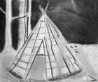 Beothuk home. (Prepared for Baccalieu: Crossroads for Cultures. Image by Ben Lewis, �2005.)